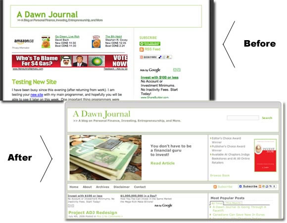 screen captures of a website before and after a redesign