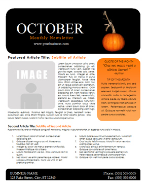 template for monthly newsletter with space for articles and images