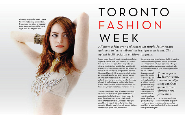 mock up of magazine layout for Toronto Fashion Week with photo of actress Emma Stone