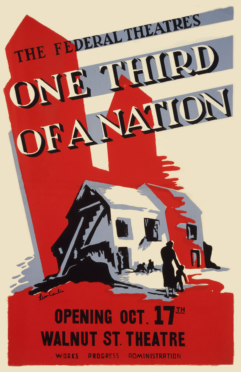 poster for a play titled one third of a nation