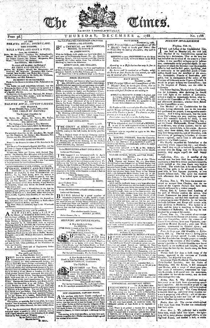 heavy front page of newspaper from 1788 filled with text in tiny font
