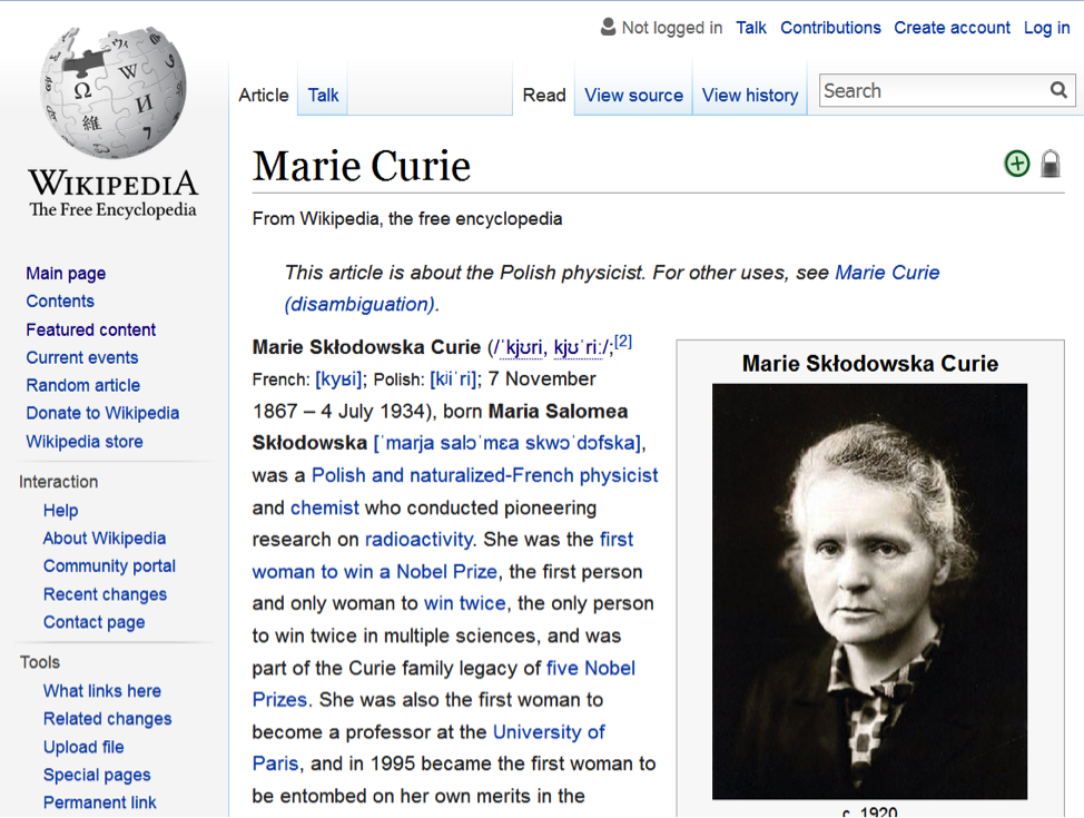 Screen shot of the Wikipedia entry for Marie Curie