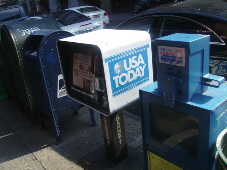USA Today vending box and US Mail box