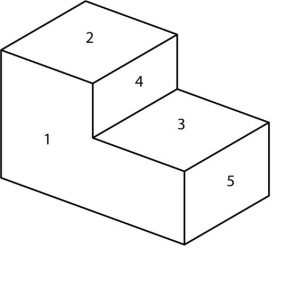 Isometric view of a geometric shape with labels indicating the associated views.