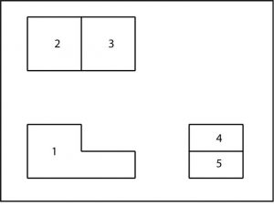 Orthographic layout of the previous isometric shape.