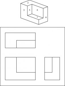 Isometric view of a geometric shape with numbered faces for identification.