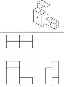 Isometric view of a geometric shape with surfaces numbered for identification.