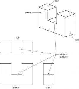 Geometric shape with hidden faces.