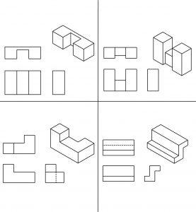 Geometric shapes with the 3 orthographic views.