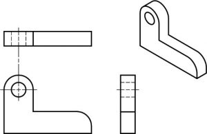 Isometric object and the 3 orthographic views needed with curved surfaces.