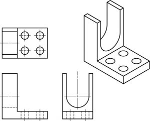 Isometric part with curved surfaces and the 3 orthographic views.