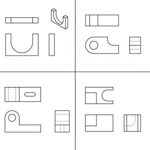 Isometric and Orthographic views of 4 parts that the student needs to complete what is missing