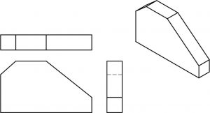 Isometric part and the accompanying orthographic views.