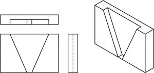 Isometric part with 3 orthographic views.
