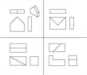 Isometric and orthographic views of 4 parts.