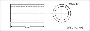 Front and end view of a dimensioned section of a pipe.