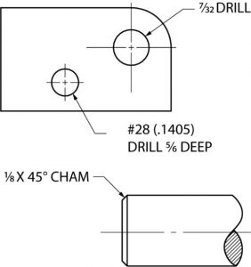 Example of using notes in dimensioning.