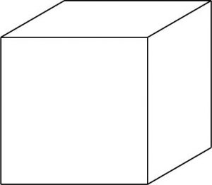 Cube to practice oblique dimensioning.