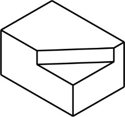 Isometric box with a corner section removed.