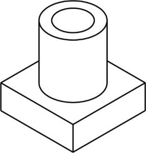 Cylindrical part attached to a square block with a hole drilled through the center.