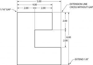 Graphic showing the use of extension lines for dimensioning.