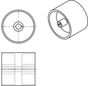 Graphic of a roller needing a section line and view to show inner features and detail.