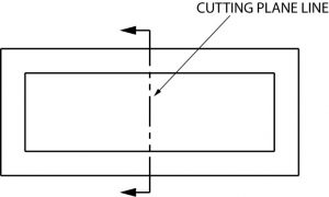 Cutting plane placed in a drawing.