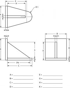 Orthographic views of a parts with partial dimensioning.