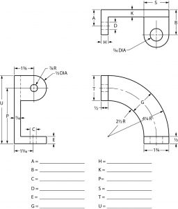 Orthographic drawing of a part partially dimensioned.