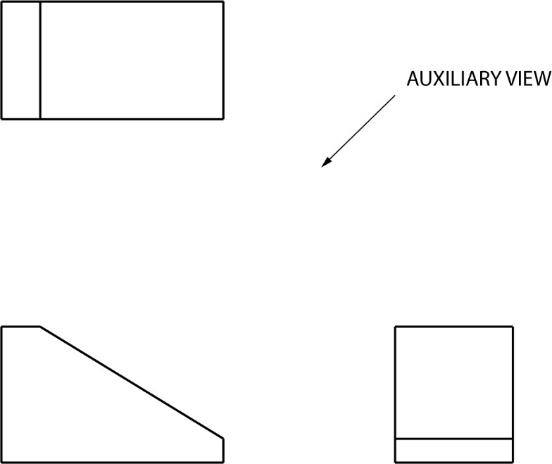 3 orthographic views provided, draw the auxiliary view.