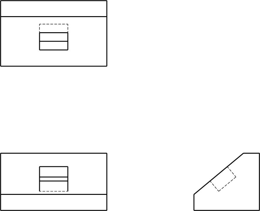 Auxiliary view practice with 3 orthographic views provided.