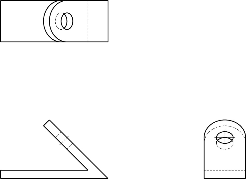 Auxiliary view practice, 3 orthographic view provided.
