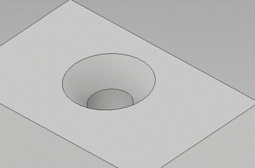 Part with a countersink hole to accommodate a tapered screw..