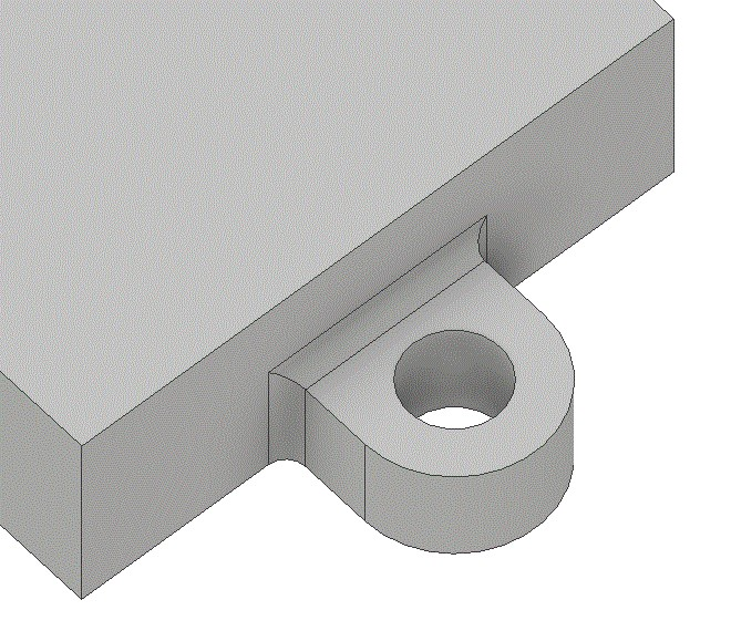 Showing a lug welded onto a piece of material for purpose of attachment.