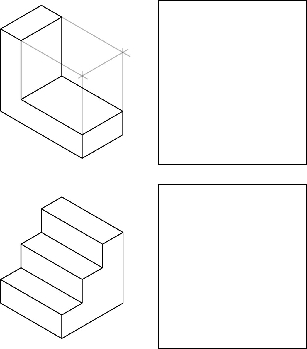 Isometric parts to sketch.