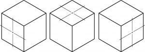 Center marks on isometric cubes