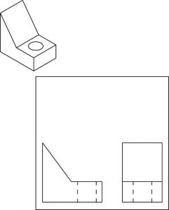 Isometric part for orthographic drawing.