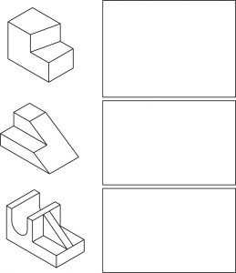 Isometric parts to practice drawing orthographic projections.