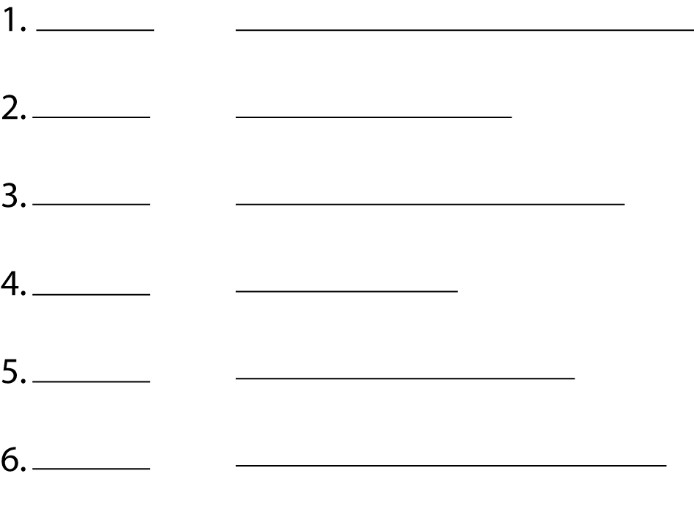Lines that are to be measured and written in the spaces provided.