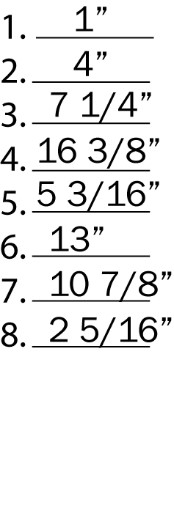 List of fractions that are to be drawn to the given size.