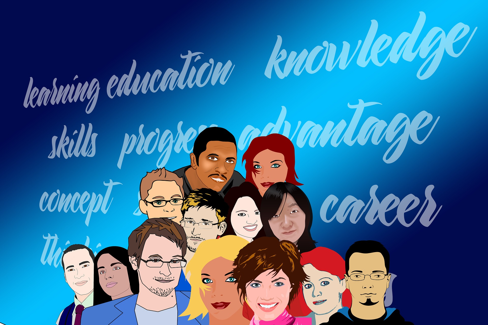 "Illustration of different kinds of people in front of a background reading ""education, knowledge, skills, progress, career"""