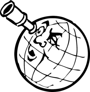 Globe with a face looking through a spyglass