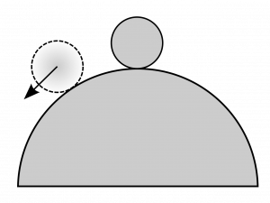 A marble sits at the top of a spherical hill. A marble moved down the left side of the hill has an arrow pointing down and left, showing the direction of the net force on the ball.