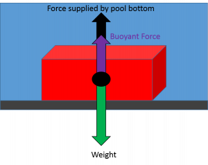 "The diagram shows a brick with an arrow labeled ""weight"" pointing downward from its center. A shorter ""buoyant force arrow points upward. A second arrow points upward so that the total length of the upward arrows equals the length of the downward arrow. The second upward arrow is labeled ""force supplied by pool bottom."""