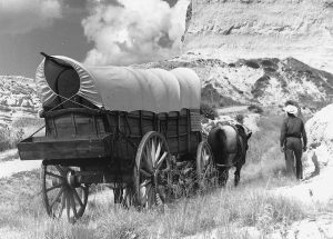 Wagon and horse on old Oregon Trail