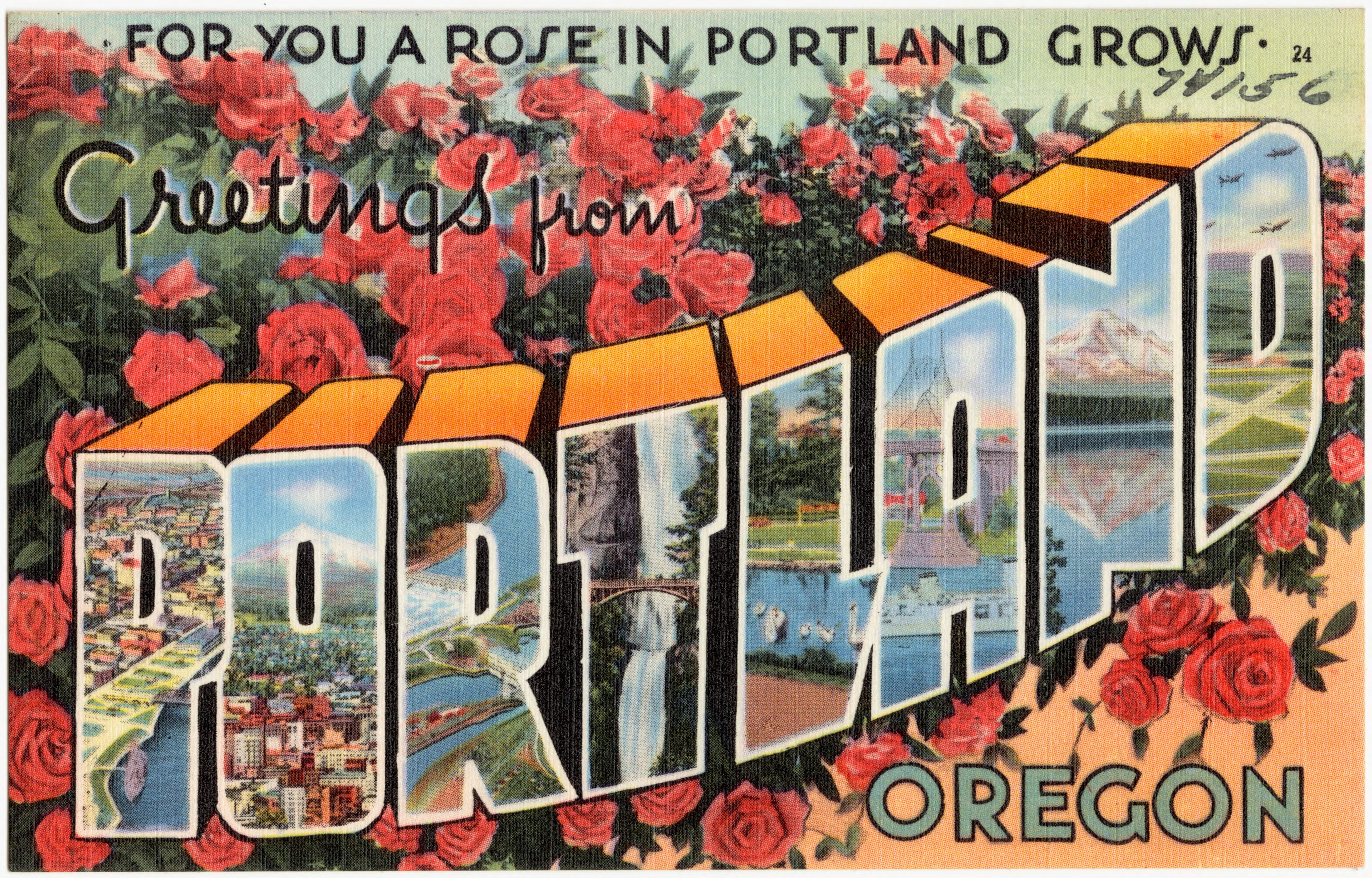 """Postcard that says """"For you a rose in Portland grows"""""""