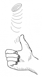 hand with thumb flipping coin