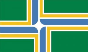 Portland flag (green with blue and yellow stripes)