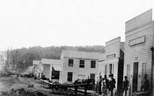Front Street buildings in Portland, 1852
