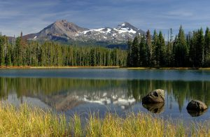 Mountain, trees and water
